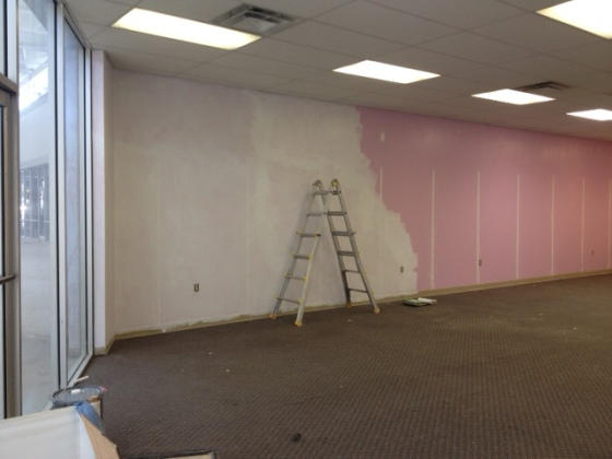 The pink walls are going, going...